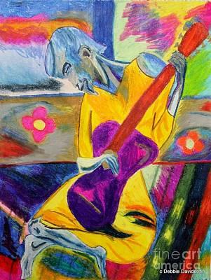 Music Figurative Potraits - Groovy Blues Man by Debbie Davidsohn