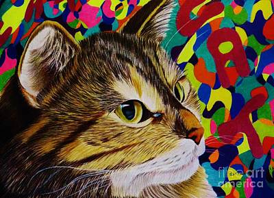 Shirley Drawing - Groovy Cat by Shirley Davies