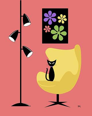 Eames Chair Wall Art - Digital Art - Groovy Flowers In Pink by Donna Mibus