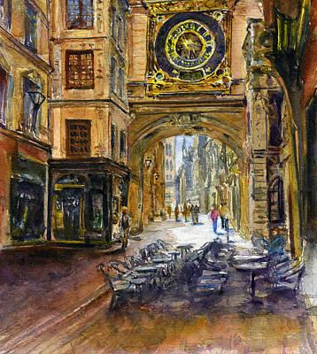 Painting - Gros Horlaoge Rouen France by John D Benson