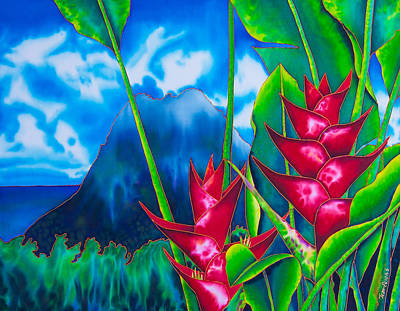 Tropical Flower Painting - Gros Piton And Heliconia by Daniel Jean-Baptiste