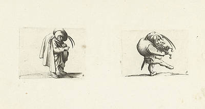 Grotesque Drawing - Grotesque Figure With Hurdy-gurdy Dwarf With Grill And Sword by Jacques Callot And Abraham Bosse