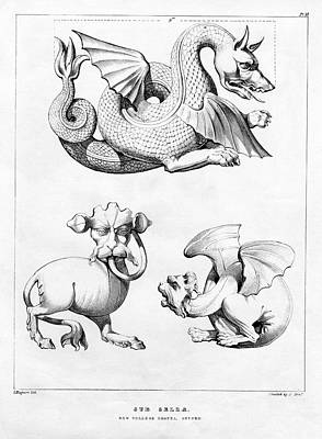 Grotesques In New College Chapel Print by Oxfordshire History Centre/oxford University Images