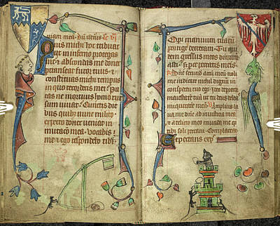 Book Illustrations Photograph - Grotesquesfrom Book Of Hours by British Library