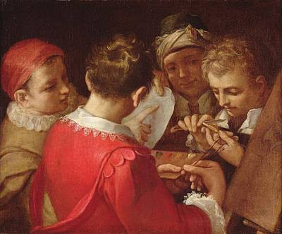 Discussing Photograph - Group Of Artists Oil On Canvas by Annibale Carracci