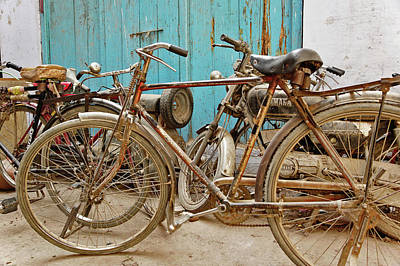 Adam Photograph - Group Of Bicycles In Gulley (alley by Adam Jones