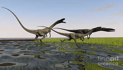 Coelophysis Digital Art - Group Of Coelophysis Dinosaurs Running by Kostyantyn Ivanyshen