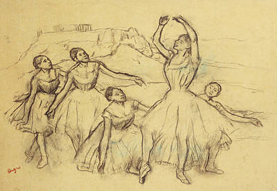 Rehearsing Drawing - Group Of Dancers by Edgar Degas