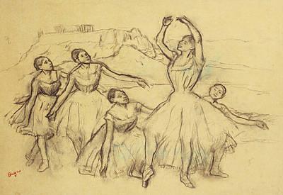 Group Of Dancers Print by Edgar Degas