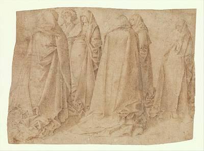 Antonello Da Messina Drawing - Group Of Draped Figures by Attributed to Antonello da Messina