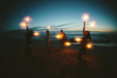 Group Of Friends With Fireworks Art Print by Wundervisuals