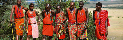 Hand-beaded Photograph - Group Of Maasai People Standing Side by Panoramic Images