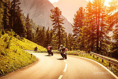 Photograph - Group Of Motorcyclists On Mountainous Road by Anna Om
