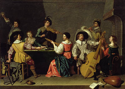 Pouring Wine Painting - Group Of Musicians by Jan van Bijlert or Bylert