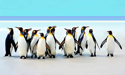 Group Of Penguins Art Print