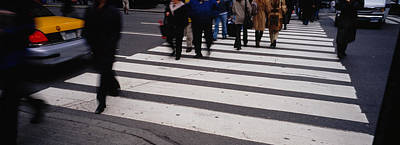 Crosswalks Photograph - Group Of People Crossing At A Zebra by Panoramic Images