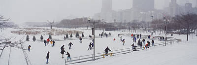 Enjoyment Photograph - Group Of People Ice Skating In A Park by Panoramic Images