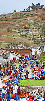 Group Of People In A Market, Chinchero Print by Panoramic Images