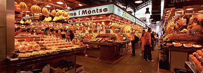 Boqueria Photograph - Group Of People In A Vegetable Market by Panoramic Images