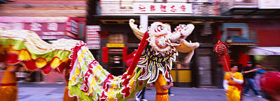 Chinese Dragon Photograph - Group Of People Performing Dragon by Panoramic Images