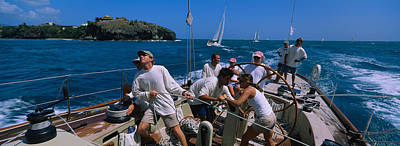 Group Of People Racing In A Sailboat Art Print by Panoramic Images