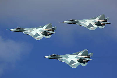 T-50 Photograph - Group Of T-50 Pak-fa Fifth Generation by Artyom Anikeev