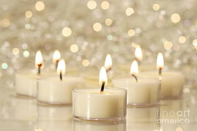 Photograph - Group Of Tea Lights For Holiday Celebrations by Sandra Cunningham