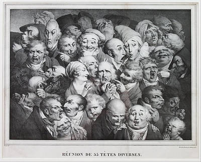 Famous Artists Drawing - Group Of Thirty-five Heads by Louis Leopold Boilly
