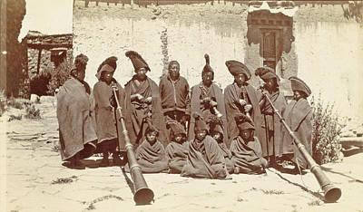 Llama Drawing - Group Of Tibetan Clergy Llamas With Wind Instruments Dunchen by Artokoloro