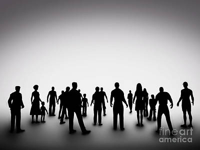 Diversity Photograph - Group Of Various People Silhouettes by Michal Bednarek