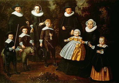 Group Portrait Of Three Generations Of A Family In The Grounds Of A Country House Oil On Canvas Print by Dirck Santvoort
