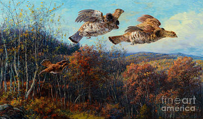 Cowboy Painting - Grouse In Flight by Celestial Images