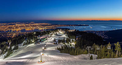 Photograph - Grouse Mountain With A View Of Vancouver At Dusk by Pierre Leclerc Photography