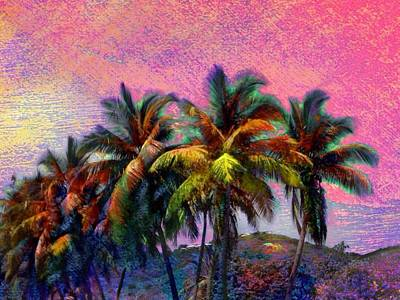 Digital Art - Grove Of Coconut Trees - Horizontal by Lyn Voytershark
