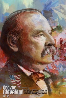 Politicians Royalty-Free and Rights-Managed Images - Grover Cleveland by Corporate Art Task Force