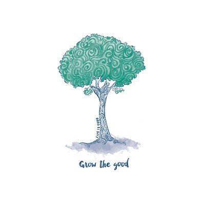 Grow Digital Art - Grow Tree Swirl by Life is Good