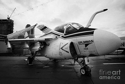 Grumman A6f A6 Intruder On Display On The Flight Deck At The Intrepid Sea Air Space Museum Art Print by Joe Fox