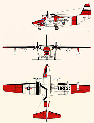 Coast Guard Drawing - Grumman Hu-16e Albatross by Mountain Dreams