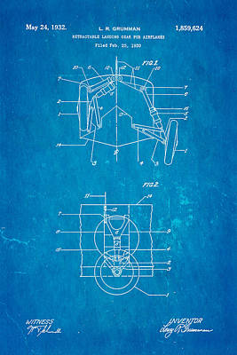 Gear Photograph - Grumman Retractable Landing Gear Patent Art 1932 Blueprint by Ian Monk