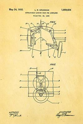 Aeronautical Photograph - Grumman Retractable Landing Gear Patent Art 1932 by Ian Monk