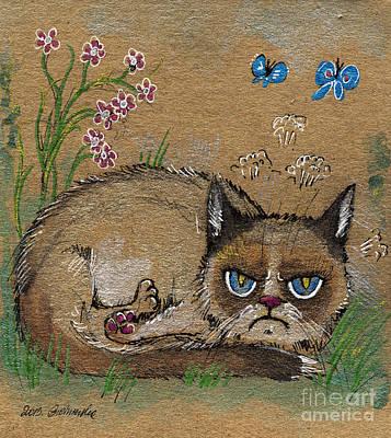 Pussycat Drawing - Grumpy Cat Loves Spring by Angel  Tarantella