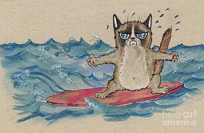 Surfing Drawing - Grumpy Cat Surfing by Angel  Tarantella
