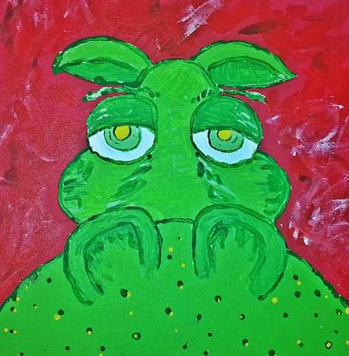 Painting - Grumpy Green Hippo by Yshua The Painter