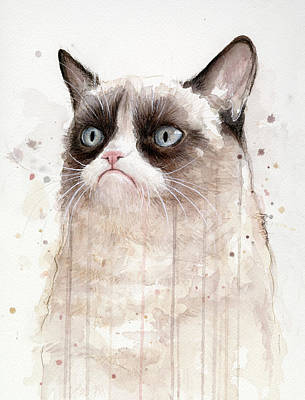 Internet Mixed Media - Grumpy Watercolor Cat by Olga Shvartsur