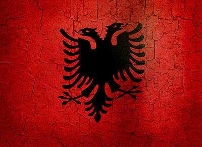 Digital Art - Grunge Albania Flag by Steve Ball