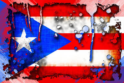 Puerto Rico Digital Art - Grunge And Splatter Puerto Rico Flag by David G Paul