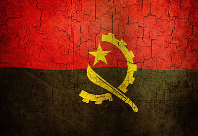 Digital Art - Grunge Angola Flag by Steve Ball