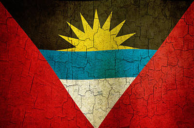 Digital Art - Grunge Antigua And Barbuda Flag by Steve Ball