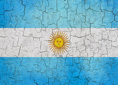 Digital Art - Grunge Argentina Flag by Steve Ball