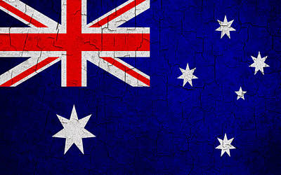 Digital Art - Grunge Australia Flag by Steve Ball